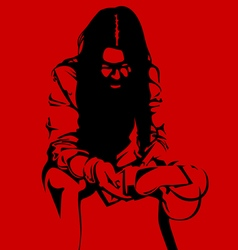Zombie woman silhouette on a red background vector image