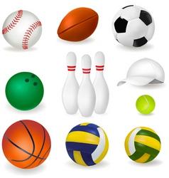 big set of sport balls and tennis cap vector image