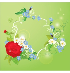 Birthday Valentines Day or Wedding card with rose vector image