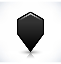 Black blank map pin sign hexagon location icon vector image
