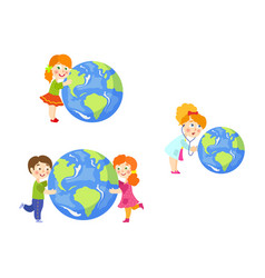children saving earth planet concept set vector image vector image