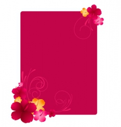 floral frame with hibiscus flowers vector image