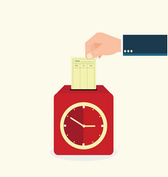 hand putting paper card in time recorder machine vector image vector image