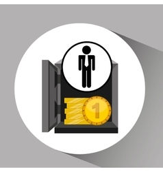 silhouette man manager economy finance box vector image