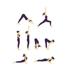 women yoga poses vector image