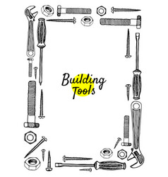 building tools hand drawn frame vector image