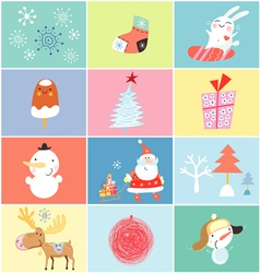 set of objects and images of the new year vector image