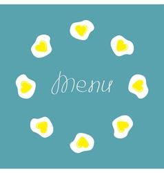 Egg round food frame Menu cover Flat design vector image vector image