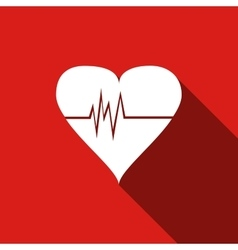 Heart Rate icon with long shadow vector image vector image