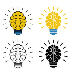 set of brain light bulb icons vector image vector image