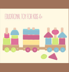 wooden toy train with colorful blocks isolated vector image vector image