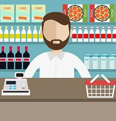 A Young cashier man standing in supermarket vector image