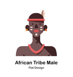 African tribe male flat icon vector