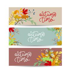Autumn banner set three pieces vector