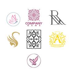 beauty and fashion luxury logo set vector image