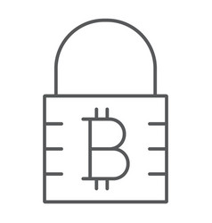 Bitcoin encryption thin line icon money finance vector