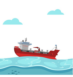 boat floating on sea bright background blue vector image