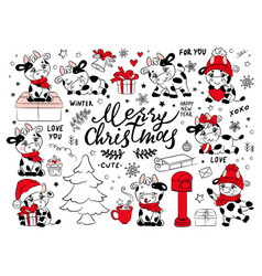 bull christmas collection clip art vector image