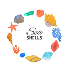 Cartoon sea shells starfish coral and ocean vector