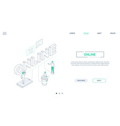 chatting online - line design style isometric web vector image
