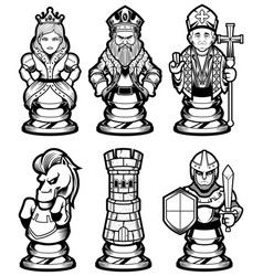 chess pieces set black and white vector image