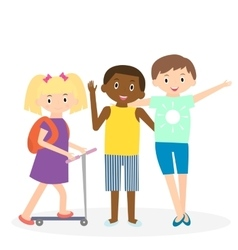Children friends Three friends leisure time vector image vector image