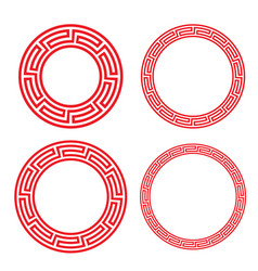 classic chinese red circle window and photo frame vector image