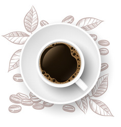 coffee time background with realistic cup and hand vector image