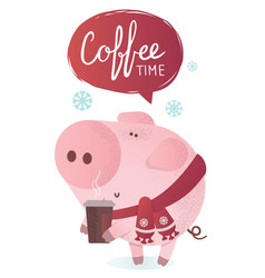 coffee time cute pig with a hot coffee vector image