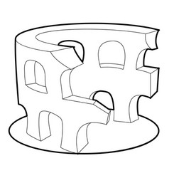 Coliseum icon outline style vector
