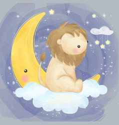 Cute lion with moon vector