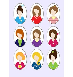 Cute of beautiful young girls with various hair vector image