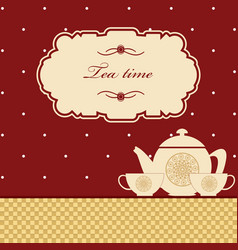 cute polka dot brown tea time background print vector image