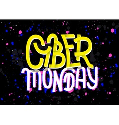 Cyber Monday lettering with a glitch effect vector image
