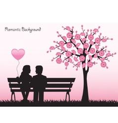 date under cherry tree vector image