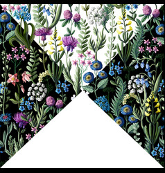 ditsy seamless pattern with wild flowers vector image