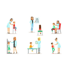 doctor doing medical examination and vaccination vector image