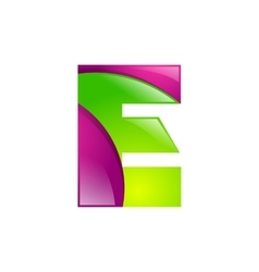 E letter green and pink logo design template vector image