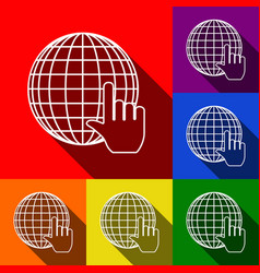 earth globe with cursor set of icons with vector image