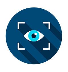 Eye recognition circle icon vector