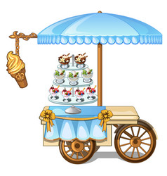Festive table kiosk selling ice cream vector