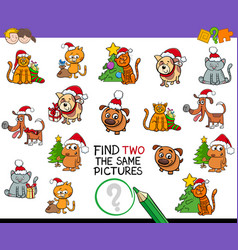 Find identical pictures activity with xmas pets vector