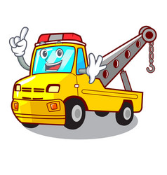 Finger tow truck for vehicle branding character vector