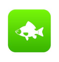 fish icon digital green vector image