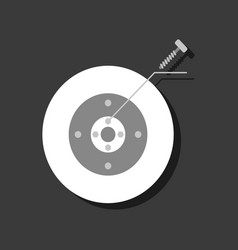 Flat icon design collection wheel and screw in vector