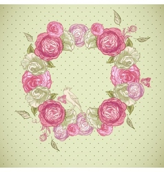 Floral frame with roses birds and butterflies vector image