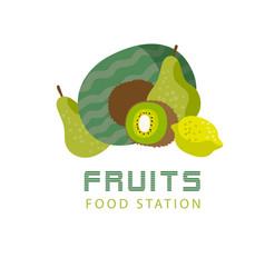 Fruits food station kiwi watermelon lemon backgrou vector