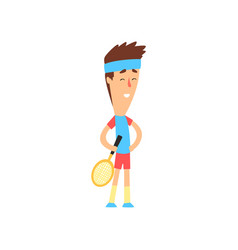 funny guy standing with tennis racket in hand vector image