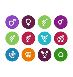 Gender identities circle icons on white background vector