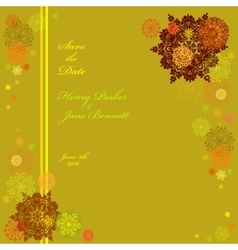 Golden wedding frame with yellow and pistachio vector image
